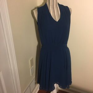 Blue VNeck Sleeveless Dress